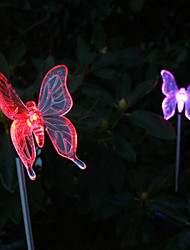 cheap -Pack of 2 Solar Color-Changing Butterfly Garden Stake Light High Quality