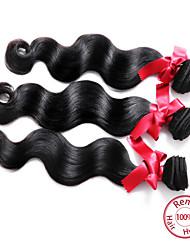 billige -3 Bundler malaysisk hår Krop Bølge Menneskehår Menneskehår, Bølget Menneskehår Vævninger Menneskehår Extensions