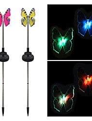 cheap -Pack of 2 Solar Fiber Optic Color-Changing Butterfly Garden Stake Light