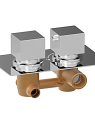Contemporary Wall Mounted Thermostatic Brass Valve Two Holes Two Handles Two Holes Chrome , Shower Faucet Bathtub Faucet