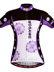 WOSAWE Cycling Jersey Women's Short Sleeves Bike Jersey Tops Quick Dry Windproof Breathable Polyester 100% Polyester Floral / Botanical