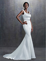 cheap -Mermaid / Trumpet Square Neck Court Train Satin Custom Wedding Dresses with Beading Sash / Ribbon by LAN TING BRIDE®