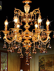 cheap -Modern Gold Color LED Crystal Chandelier With 6 Arms For Living Room Bedroom And Dining Room Lighting