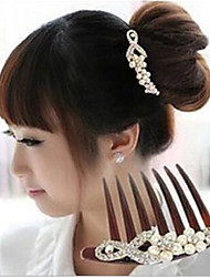 cheap -South Korea's Hair Combs Bride Grape Diamond Pearl Inserted Comb Twist