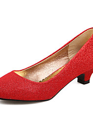 cheap -Women's Shoes Synthetic Chunky Heel Comfort Round Toe Pumps Wedding and Party More Colors available