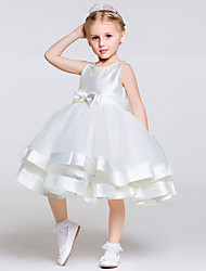 cheap -A-Line Knee Length Flower Girl Dress - Polyester / Tulle Sleeveless Jewel Neck with Bow(s) / Sash / Ribbon by LAN TING BRIDE®