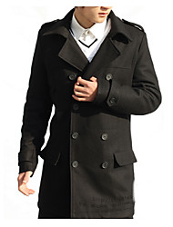 cheap -Men's Basic Trench Coat-Solid Colored