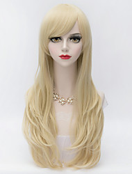 cheap -Synthetic Wig Curly Layered Haircut / With Bangs Synthetic Hair Side Part Blonde Wig Women's Very Long Capless