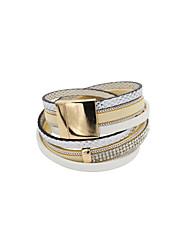 cheap -Women's Leather Rhinestone Imitation Diamond Leather Bracelet Wrap Bracelet - Luxury Unique Design Fashion Others Beige Pink Bracelet For