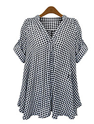 cheap -Women's Casual Plus Size Loose Shirt - Check Deep V