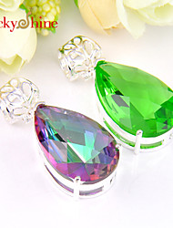 Luckyshine Prong Setting Fire Drop Green Quartz Mystic Topaz Gem Necklace Pendants For Wedding Party Daily Casual 1pc