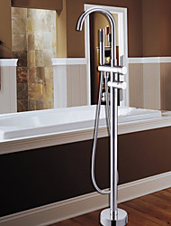 Contemporary Tub And Shower Handshower Included Floor Standing Ceramic Valve One Hole Single Handle One Hole Chrome , Shower Faucet