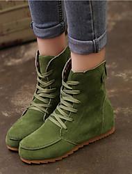 Feminino Sapatos Camursa Sintética Primavera Outono Inverno Conforto Salto Plataforma Botas Curtas / Ankle Cadarço Para Casual Preto