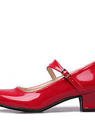 cheap -Women's Modern Shoes / Ballroom Shoes Leatherette Heel Buckle Low Heel Non Customizable Dance Shoes Black / Red / Silver
