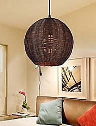 Pendelleuchten Globe Brown Cane handgewebte moderne einfache Land