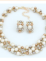 Jewelry Set Vintage Party Party Pearl Imitation Pearl Rhinestone Alloy Necklace Earrings