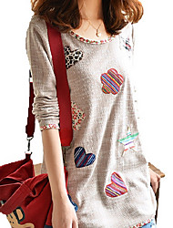 Women's Casual/Daily Plus Size Simple Summer T-shirt,Patchwork Round Neck Long Sleeves Polyester Medium