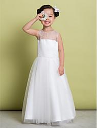 baratos -noiva Lanting ® uma linha de vestido de flores até o chão menina - tule mangas colher com beading