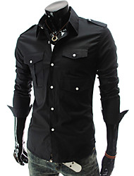 Men's Daily Casual Spring Fall Shirt,Solid Classic Collar Long Sleeves Polyester