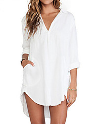 cheap -Women's Pure White V Neck/Shirt Collar Long Sleeve Loose Long Shirt