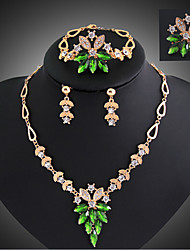 cheap -Turquoise Jewelry Set - 18K Gold Plated, Cubic Zirconia, Turquoise Statement, Vintage, Party Include Gold / Emerald For Party / Special Occasion / Anniversary / Earrings / Necklace