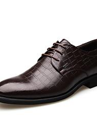 Masculino sapatos Couro Primavera Verão Outono Inverno Conforto Oxfords Cadarço Para Casamento Festas & Noite Preto Marron