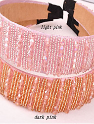 The New Listing Crystal Beads Hair Hoop Head Band Large Pale Pink