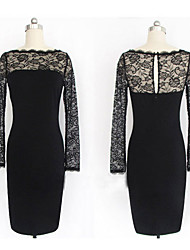 Women's Lace Vintage Round Neck Lace Dress,Cotton Blends Black Bodycon/Casual/Lace/Party