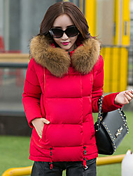 Women's Hoodie Slim Long Sleeve Down Coat , Casual/Cute/Work/Plus Sizes Cotton/Polyester/Faux Fur/Feather