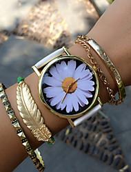 baratos -Mulheres Bracele Relógio Venda imperdível PU Banda Flor / Vintage / Fashion Preta / Branco / Verde