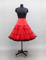 Slips Ball Gown Slip Knee-Length 3 Tulle Netting Polyester Lycra White Black Yellow Red