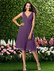 cheap -A-Line V Neck Knee Length Chiffon Bridesmaid Dress with Draping Ruched by LAN TING BRIDE®