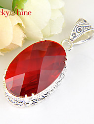 Luckyshine Vintage Prong Setting Fire Amethyst Red Quartz Gem 925 Silver Pendants For Wedding Party Daily Casual 1pc