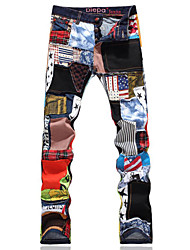 cheap -Men's Personality Patchwork Ripped Jeans Denim Beggar Pants