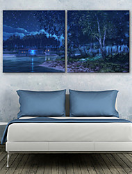 cheap -E-HOME® Stretched LED Canvas Print Art The Night in The Forest LED Flashing Optical Fiber Print Set of 2