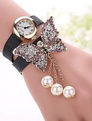 Da donna Orologio alla moda Orologio braccialetto Quarzo imitazione diamante PU Banda Farfalla Stile BohoNero Bianco Blu Rosso Arancione