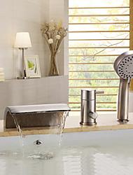 abordables -Robinet de baignoire - Moderne Nickel brossé Baignoire et douche Soupape céramique / Laiton / Mitigeur Trois trous