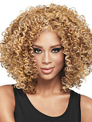 cheap -Synthetic Wig Curly Asymmetrical Haircut Synthetic Hair Natural Hairline / African American Wig Blonde Wig Women's Short / Medium Length / Mid Length Capless