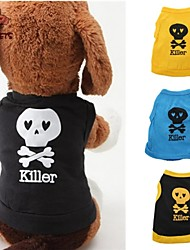 cheap -Cat Dog Shirt / T-Shirt Outfits Dog Clothes Skull Black Yellow Blue Black/Yellow Cotton Costume For Pets Men's Women's Cute Casual/Daily