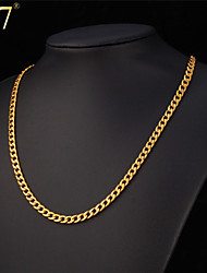 cheap -Men's Cuban Link Chain Necklace - 18K Gold Plated, Stainless Steel, Silver Plated Rock, Fashion, Hip-Hop Gold, White Necklace Jewelry For Special Occasion, Birthday, Gift