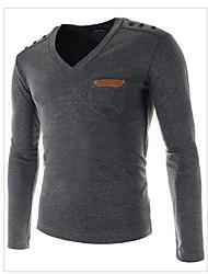 cheap -Men's Long Sleeve T-Shirt , Cotton Casual Pure