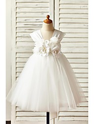 cheap -A-Line Knee Length Flower Girl Dress - Satin Tulle Sleeveless Straps with Flower(s) Sash / Ribbon by LAN TING BRIDE®