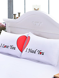 Set of 2 LOVE Cute Pillow Cases Heart Together Super Soft Pillow Cover for Wedding Valentine's Gift