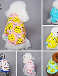 cheap -Cat Dog Shirt / T-Shirt Pajamas Dog Clothes Cute Casual/Daily Cartoon Yellow Blue Pink Blue/Yellow Light Pink Costume For Pets