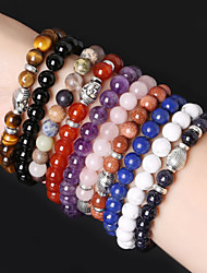 cheap -Beadia 1Pc Fashion 8mm Round Stone Elastic Strand Bracelet Silver Buddha Bracelet 10 Colors U-Pick