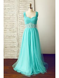 cheap -A-Line Straps Floor Length Chiffon Tulle Prom Formal Evening Dress with Beading Criss Cross by Thstylee