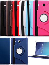 Pour Samsung Galaxy Coque Avec Support Clapet Rotation 360° Coque Coque Intégrale Coque Couleur Pleine Cuir PU pour Samsung Tab E 9.6