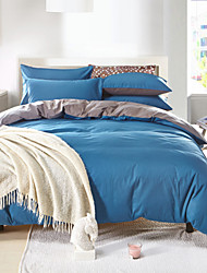 Duvet Cover Sets Solid 4 Piece Cotton Reactive Print Cotton 1pc Duvet Cover 2pcs Shams 1pc Flat Sheet