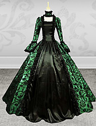 Medieval Victorian Costume Female Party Costume Masquerade Green Vintage Cosplay Lace Satin Long Sleeves Poet
