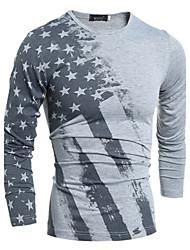 Camicia Da uomo Sport Casual Semplice Attivo Autunno Inverno,Fantasia geometrica Rotonda Cotone Manica lunga Medio spessore